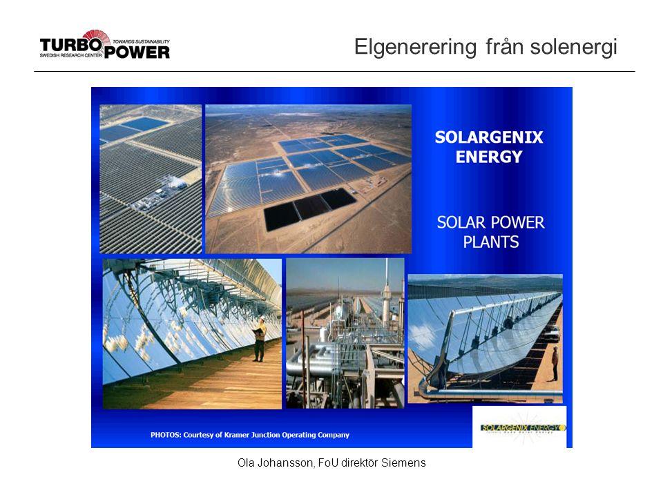 Ola Johansson, FoU direktör Siemens Elgenerering från solenergi