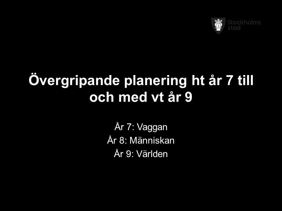 Övergripande planering ht år 7 till och med vt år 9 År 7: Vaggan År 8: Människan År 9: Världen