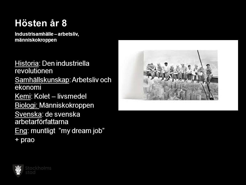 Hösten år 8 Industrisamhälle – arbetsliv, människokroppen Historia: Den industriella revolutionen Samhällskunskap: Arbetsliv och ekonomi Kemi: Kolet – livsmedel Biologi: Människokroppen Svenska: de svenska arbetarförfattarna Eng: muntligt my dream job + prao
