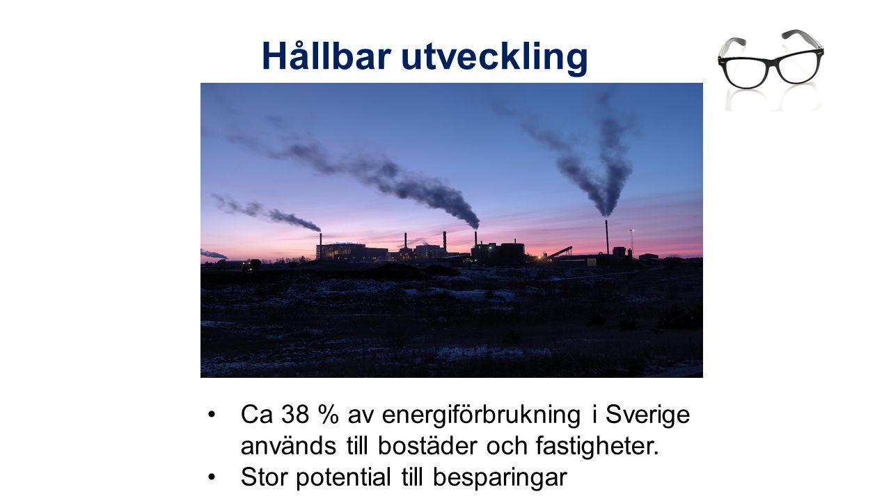 Hållbar utveckling Ca 38 % av energiförbrukning i Sverige används till bostäder och fastigheter.