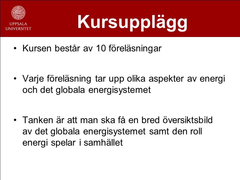 Föreläsningsplan 1.Grundläggande om energi 2.Historik över det globala energisystemet 3.Energiresurser I 4.Energiresurser II 5.Energiproduktion I 6.Energiproduktion II 7.Framtidens energisystem & utmaningar 8.Energi i miljö & samhället 9.Energipolitik & energisäkerhet 10.Avslutning & sammanfattning