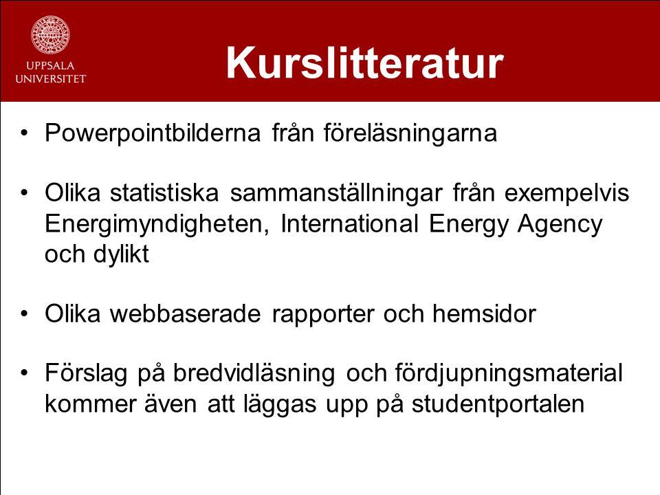 Kurslitteratur Powerpointbilderna från föreläsningarna Olika statistiska sammanställningar från exempelvis Energimyndigheten, International Energy Age