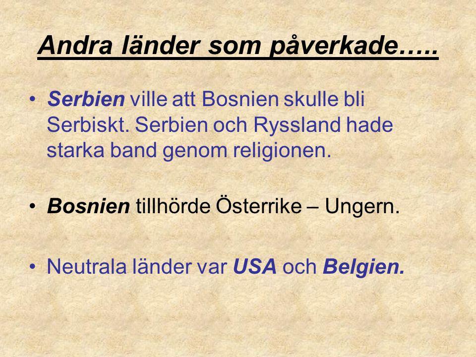 Andra länder som påverkade….. Serbien ville att Bosnien skulle bli Serbiskt. Serbien och Ryssland hade starka band genom religionen. Bosnien tillhörde
