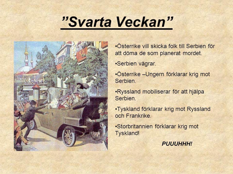 """""""Svarta Veckan"""" Österrike vill skicka folk till Serbien för att döma de som planerat mordet. Serbien vägrar. Österrike –Ungern förklarar krig mot Serb"""