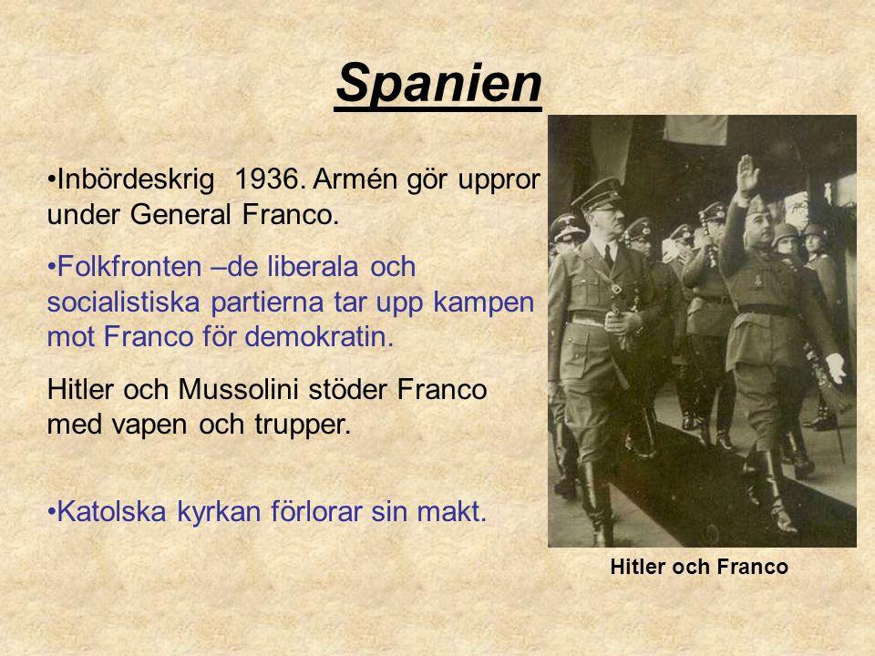 Spanien Inbördeskrig 1936.Armén gör uppror under General Franco.