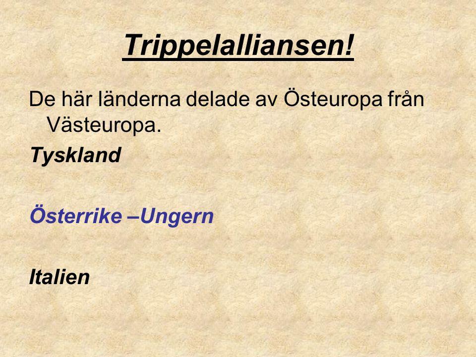 Trippelalliansen! De här länderna delade av Östeuropa från Västeuropa. Tyskland Österrike –Ungern Italien