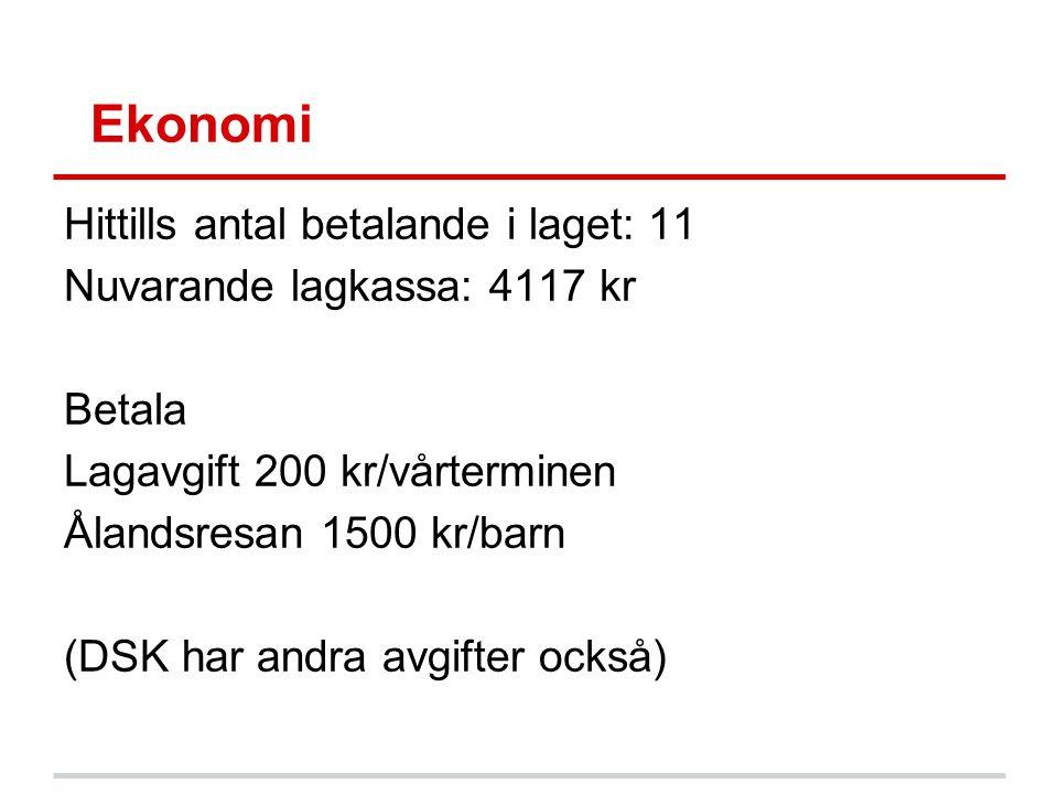 Ekonomi Hittills antal betalande i laget: 11 Nuvarande lagkassa: 4117 kr Betala Lagavgift 200 kr/vårterminen Ålandsresan 1500 kr/barn (DSK har andra avgifter också)