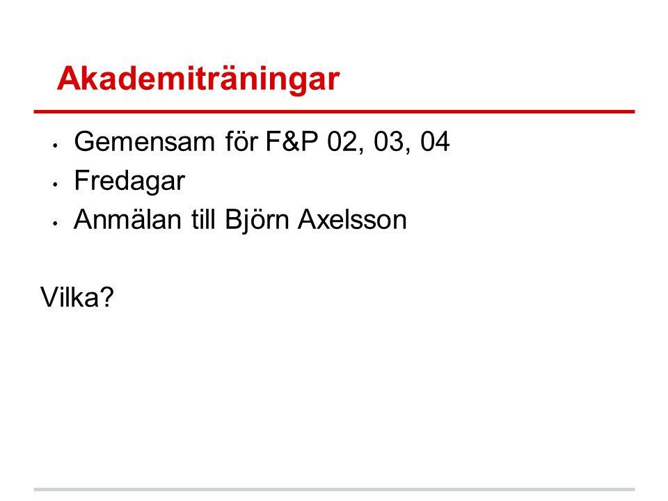 Akademiträningar Gemensam för F&P 02, 03, 04 Fredagar Anmälan till Björn Axelsson Vilka