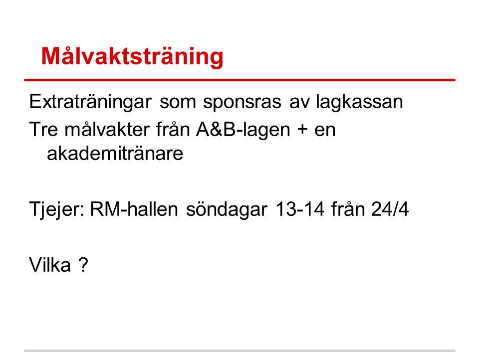 Målvaktsträning Extraträningar som sponsras av lagkassan Tre målvakter från A&B-lagen + en akademitränare Tjejer: RM-hallen söndagar 13-14 från 24/4 Vilka