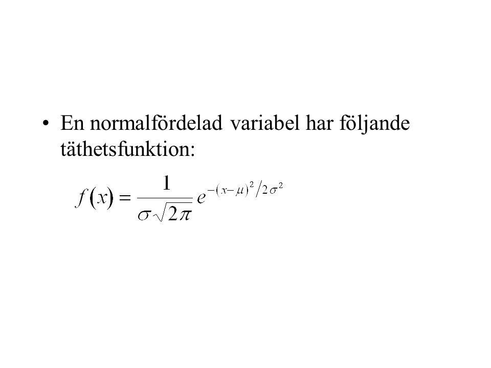 En normalfördelad variabel har följande täthetsfunktion: