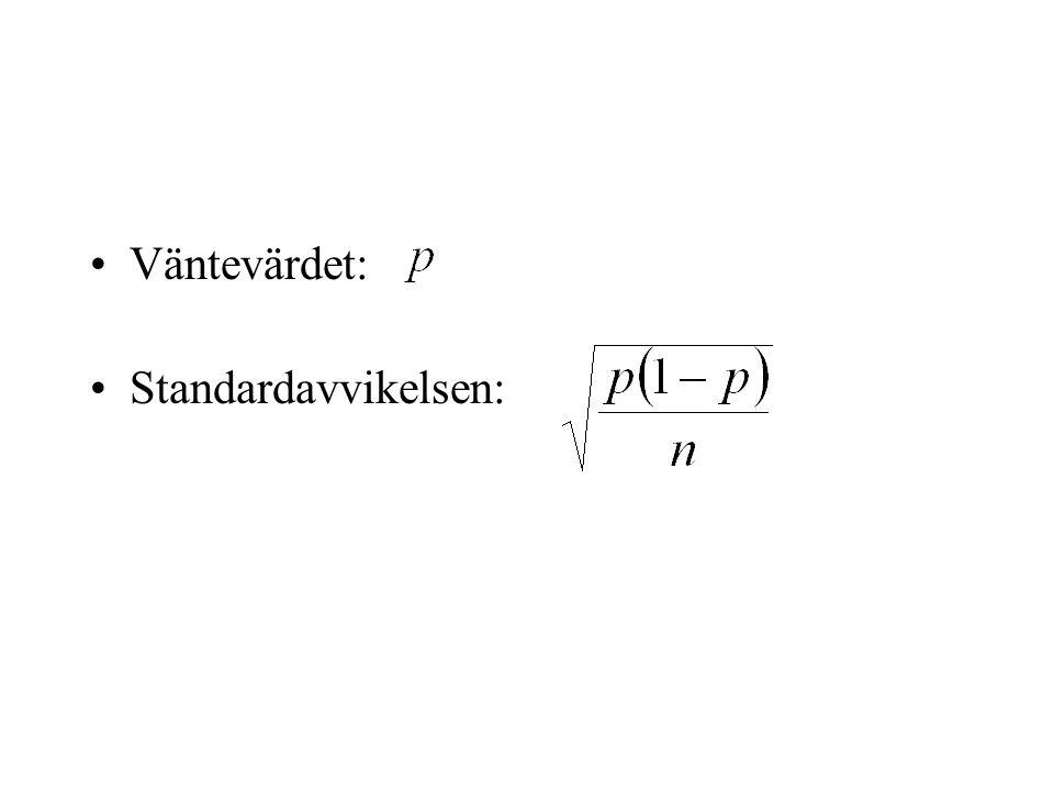 Väntevärdet: Standardavvikelsen: