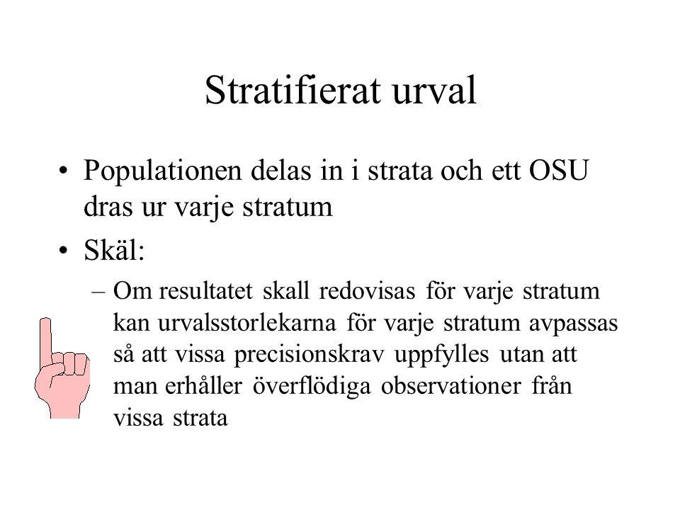 Stratifierat urval Populationen delas in i strata och ett OSU dras ur varje stratum Skäl: –Om resultatet skall redovisas för varje stratum kan urvalsstorlekarna för varje stratum avpassas så att vissa precisionskrav uppfylles utan att man erhåller överflödiga observationer från vissa strata