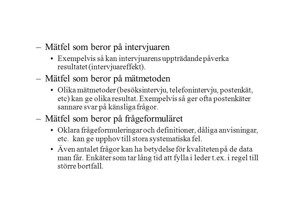 –Mätfel som beror på intervjuaren Exempelvis så kan intervjuarens uppträdande påverka resultatet (intervjuareffekt).