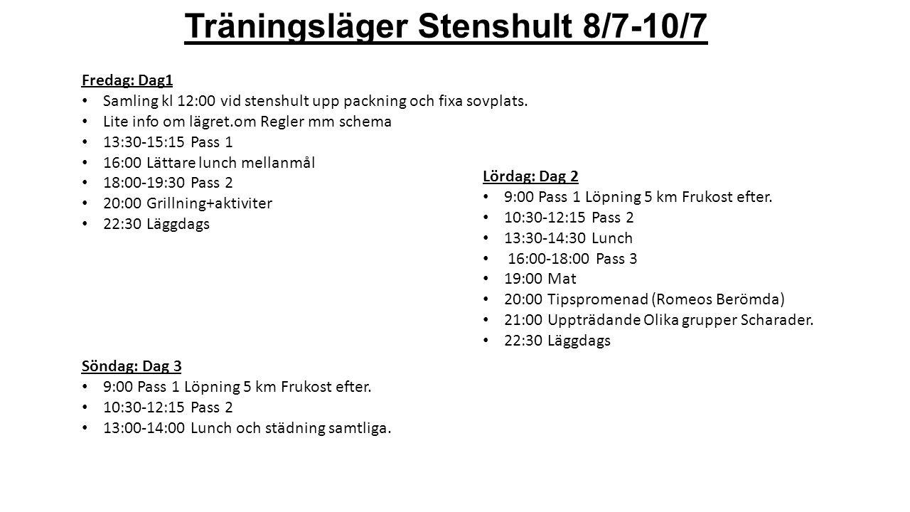 Träningsläger Stenshult 8/7-10/7 Fredag: Dag1 Samling kl 12:00 vid stenshult upp packning och fixa sovplats.