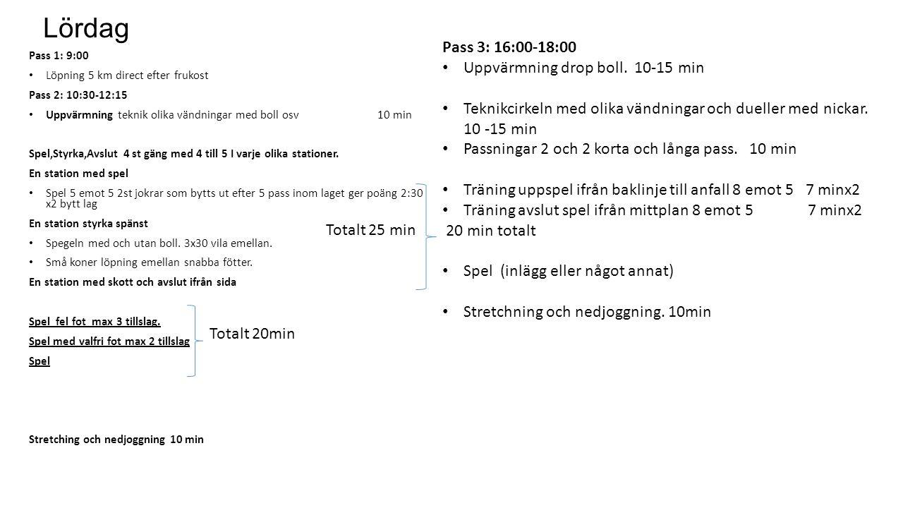 Lördag Pass 1: 9:00 Löpning 5 km direct efter frukost Pass 2: 10:30-12:15 Uppvärmning teknik olika vändningar med boll osv 10 min Spel,Styrka,Avslut 4 st gäng med 4 till 5 I varje olika stationer.