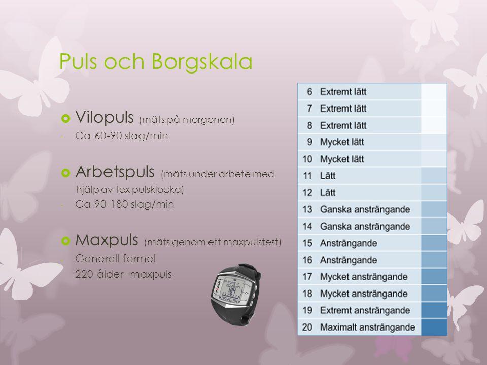 Puls och Borgskala  Vilopuls (mäts på morgonen) - Ca 60-90 slag/min  Arbetspuls (mäts under arbete med hjälp av tex pulsklocka) - Ca 90-180 slag/min  Maxpuls (mäts genom ett maxpulstest) - Generell formel 220-ålder=maxpuls