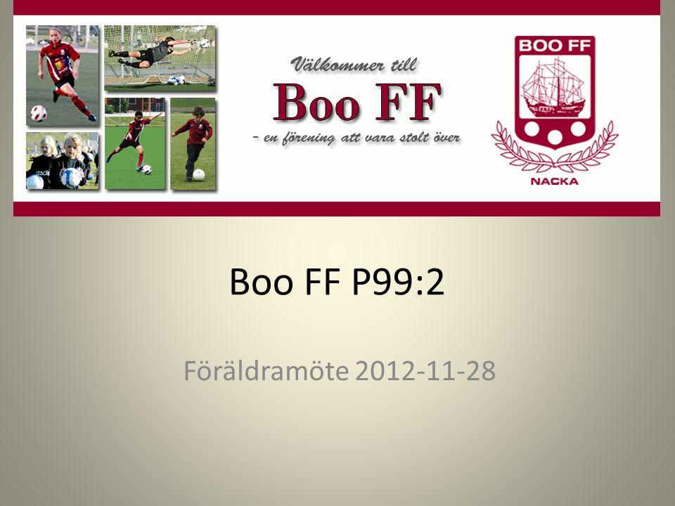 Boo FF P99:2 Föräldramöte 2012-11-28