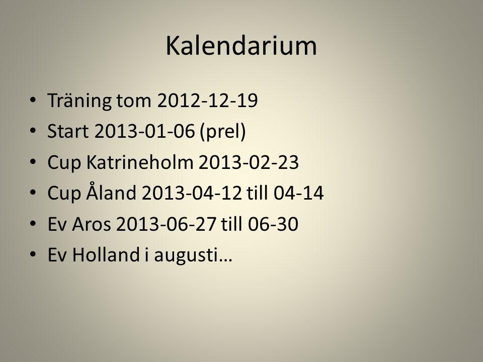 Kalendarium Träning tom 2012-12-19 Start 2013-01-06 (prel) Cup Katrineholm 2013-02-23 Cup Åland 2013-04-12 till 04-14 Ev Aros 2013-06-27 till 06-30 Ev Holland i augusti…