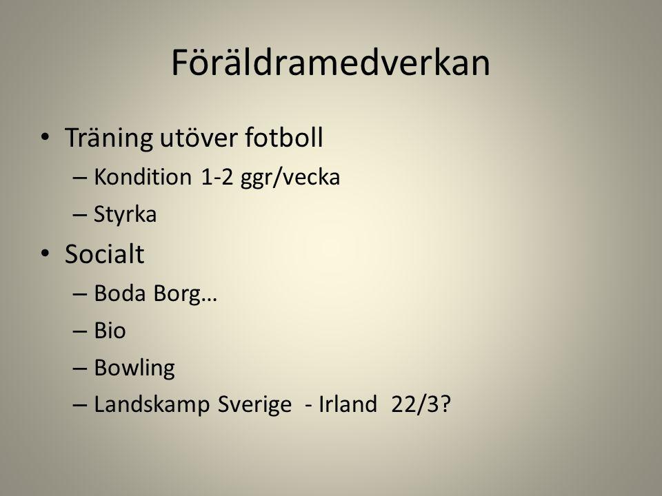 Föräldramedverkan Träning utöver fotboll – Kondition 1-2 ggr/vecka – Styrka Socialt – Boda Borg… – Bio – Bowling – Landskamp Sverige - Irland 22/3