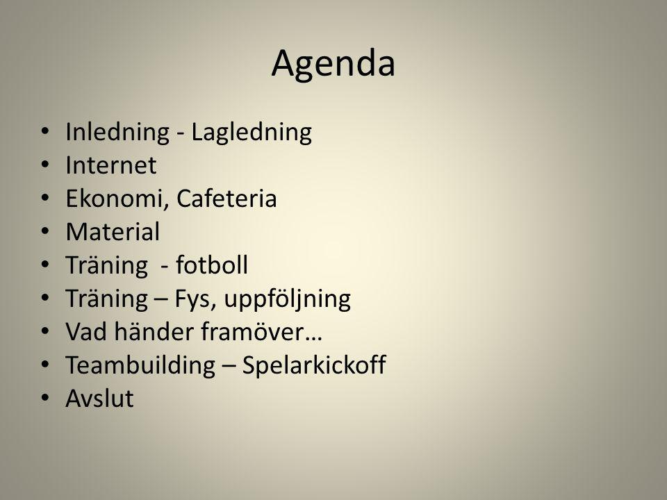 Agenda Inledning - Lagledning Internet Ekonomi, Cafeteria Material Träning - fotboll Träning – Fys, uppföljning Vad händer framöver… Teambuilding – Spelarkickoff Avslut