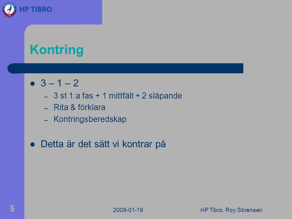Kontring 3 – 1 – 2 – 3 st 1:a fas + 1 mittfält + 2 släpande – Rita & förklara – Kontringsberedskap Detta är det sätt vi kontrar på 2009-01-19HP Tibro, Roy Sörensen 5