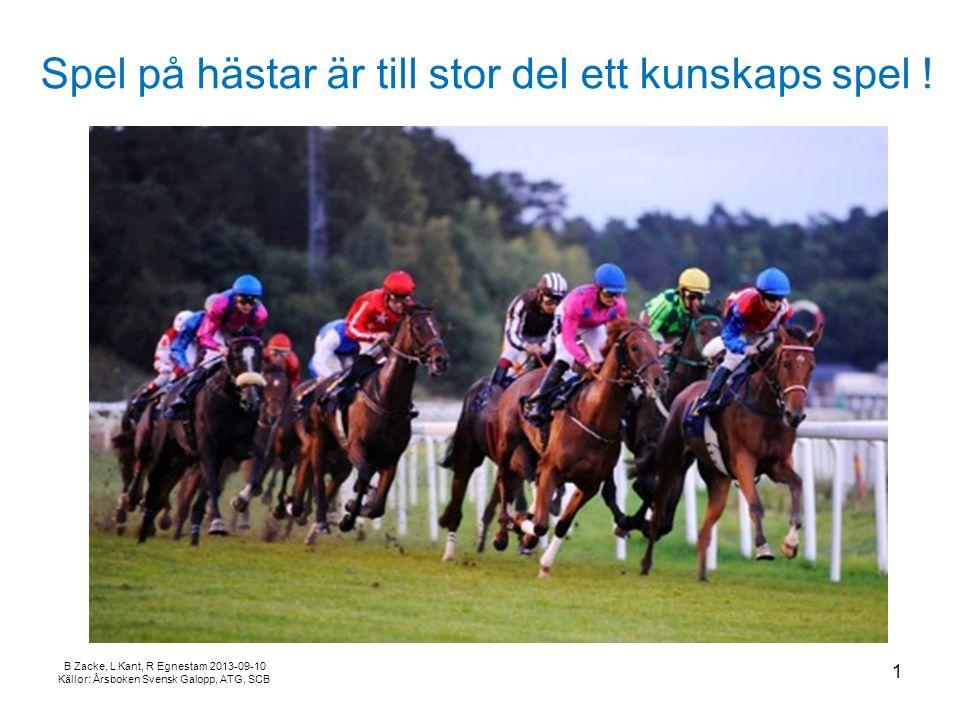 B Zacke, L Kant, R Egnestam 2013-09-10 Källor: Årsboken Svensk Galopp, ATG, SCB Spel på hästar är till stor del ett kunskaps spel .