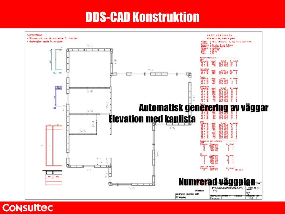 DDS-CAD Konstruktion Numrerad väggplan Automatisk generering av väggar Elevation med kaplista