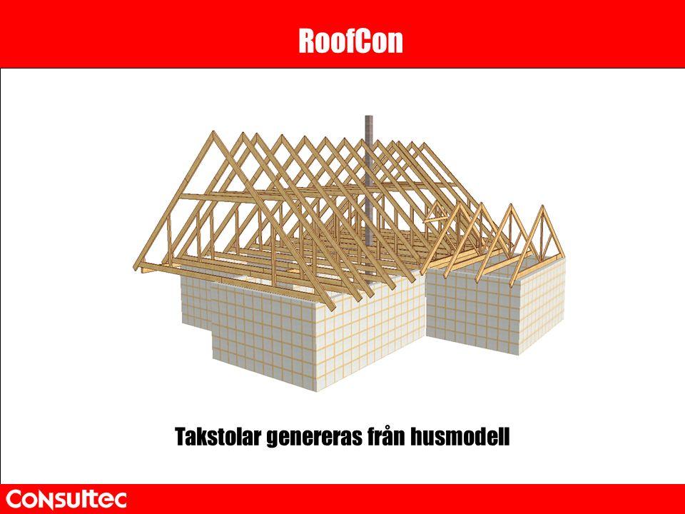 RoofCon Takstolar genereras från husmodell