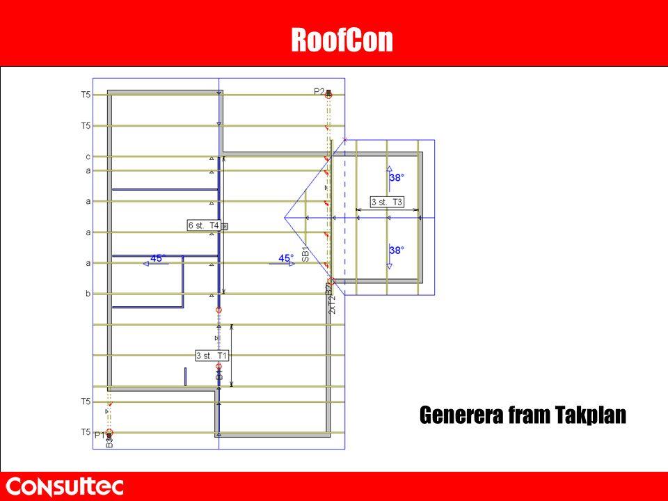 RoofCon Generera fram Takplan