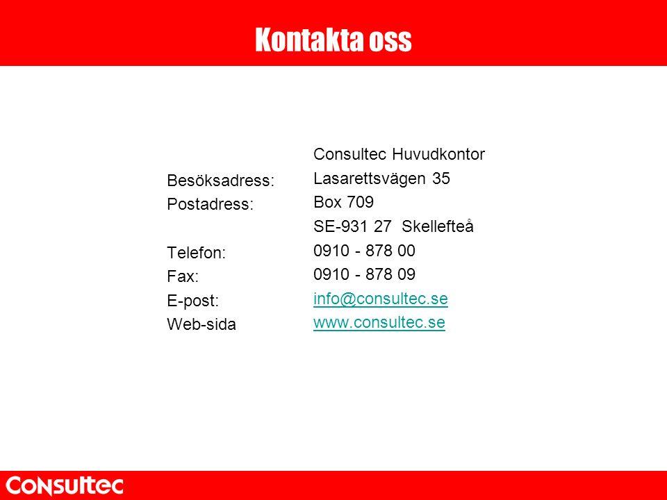 Kontakta oss Besöksadress: Postadress: Telefon: Fax: E-post: Web-sida Consultec Huvudkontor Lasarettsvägen 35 Box 709 SE-931 27 Skellefteå 0910 - 878 00 0910 - 878 09 info@consultec.se www.consultec.se