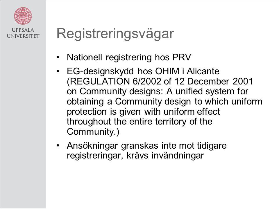 Registreringsvägar Nationell registrering hos PRV EG-designskydd hos OHIM i Alicante (REGULATION 6/2002 of 12 December 2001 on Community designs: A un