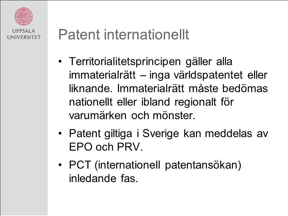 Patent internationellt Territorialitetsprincipen gäller alla immaterialrätt – inga världspatentet eller liknande.