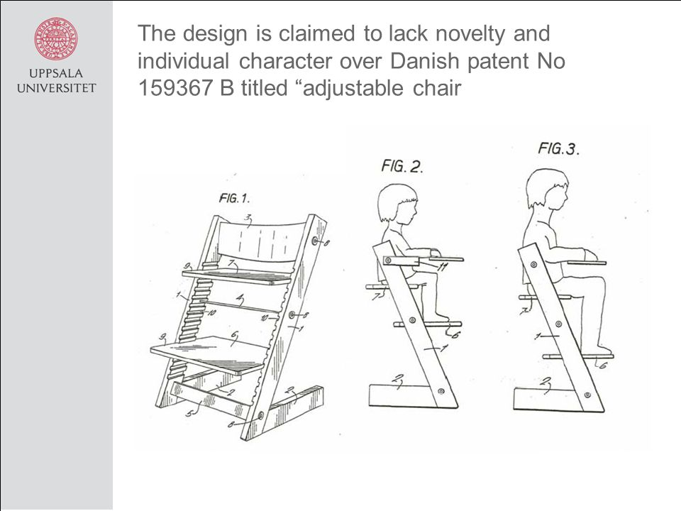 The design is claimed to lack novelty and individual character over Danish patent No 159367 B titled adjustable chair