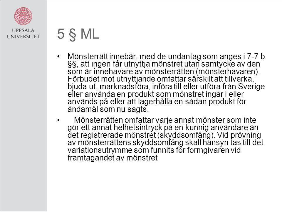 5 § ML Mönsterrätt innebär, med de undantag som anges i 7-7 b §§, att ingen får utnyttja mönstret utan samtycke av den som är innehavare av mönsterrätten (mönsterhavaren).