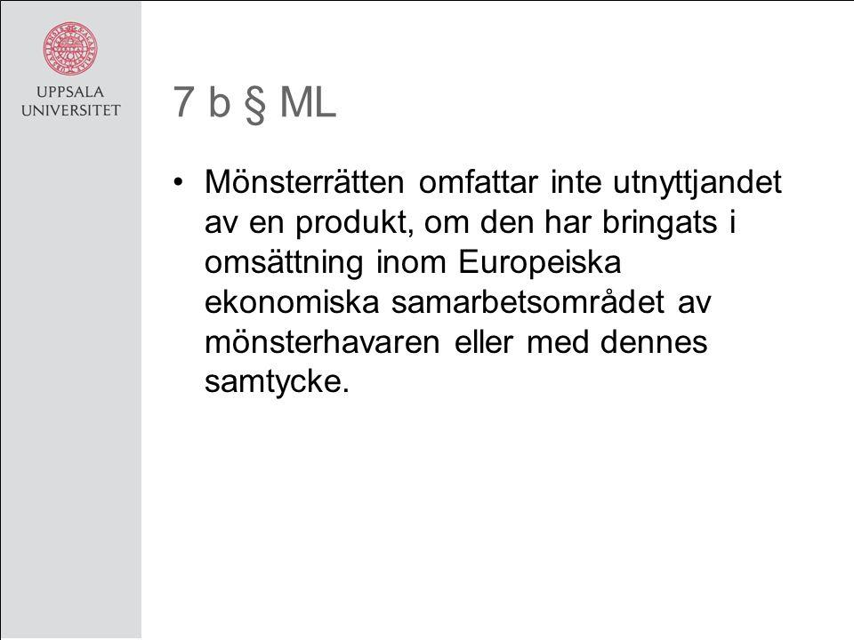 7 b § ML Mönsterrätten omfattar inte utnyttjandet av en produkt, om den har bringats i omsättning inom Europeiska ekonomiska samarbetsområdet av mönsterhavaren eller med dennes samtycke.