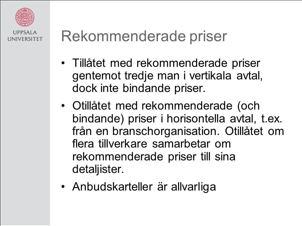 Rekommenderade priser Tillåtet med rekommenderade priser gentemot tredje man i vertikala avtal, dock inte bindande priser.
