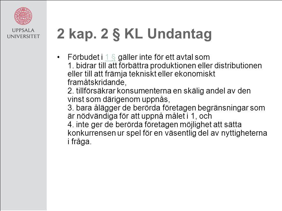 2 kap. 2 § KL Undantag Förbudet i 1 § gäller inte för ett avtal som 1.