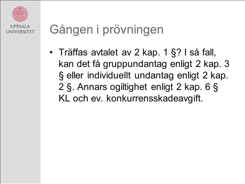 Gången i prövningen Träffas avtalet av 2 kap. 1 §.