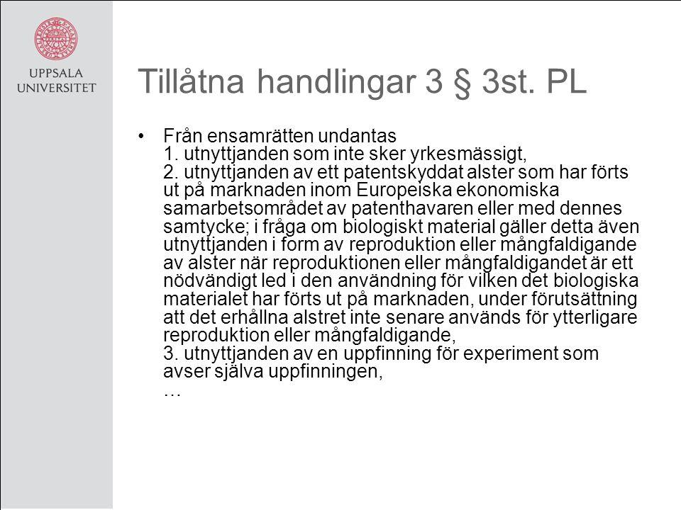 Tillåtna handlingar 3 § 3st. PL Från ensamrätten undantas 1.