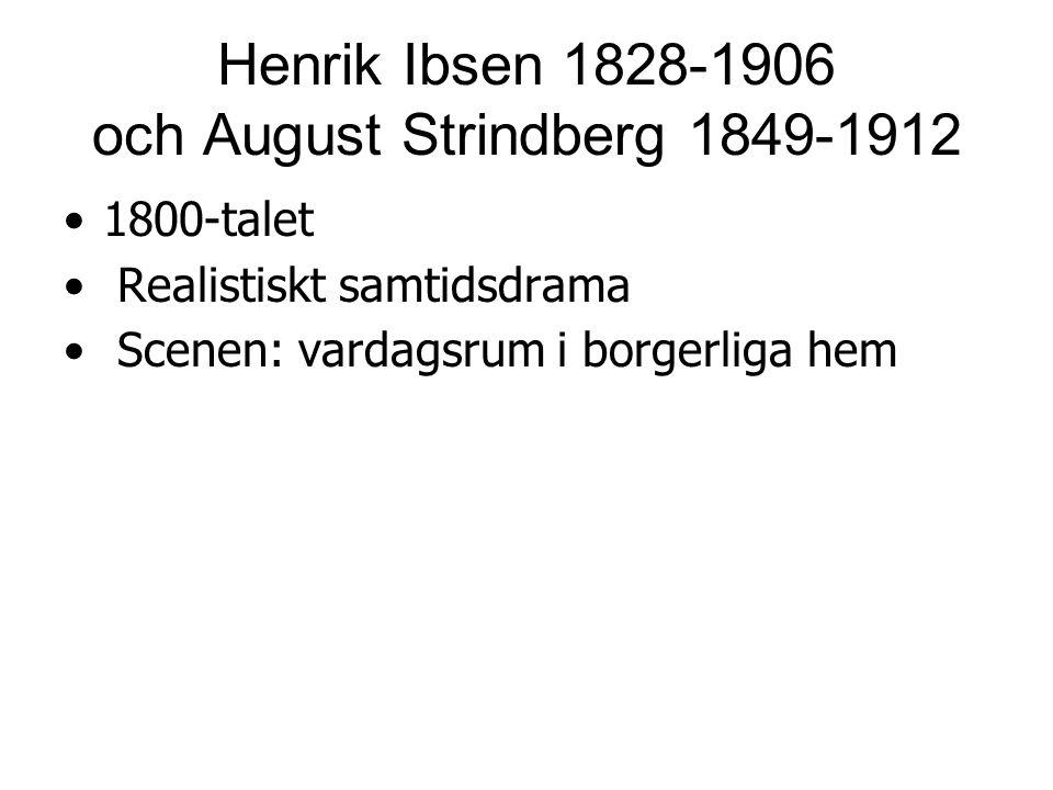Henrik Ibsen 1828-1906 och August Strindberg 1849-1912 1800-talet Realistiskt samtidsdrama Scenen: vardagsrum i borgerliga hem