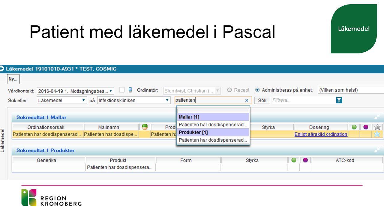 Patient med läkemedel i Pascal Läkemedel