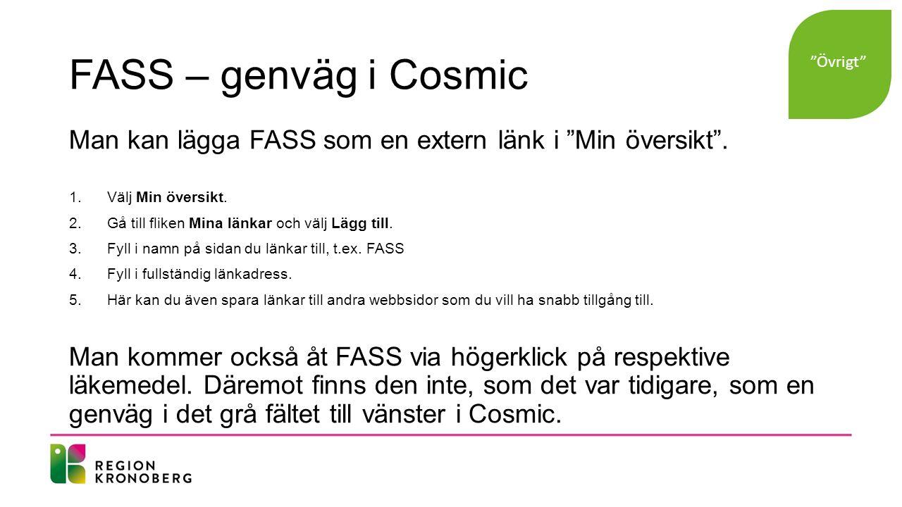 FASS – genväg i Cosmic Man kan lägga FASS som en extern länk i Min översikt .