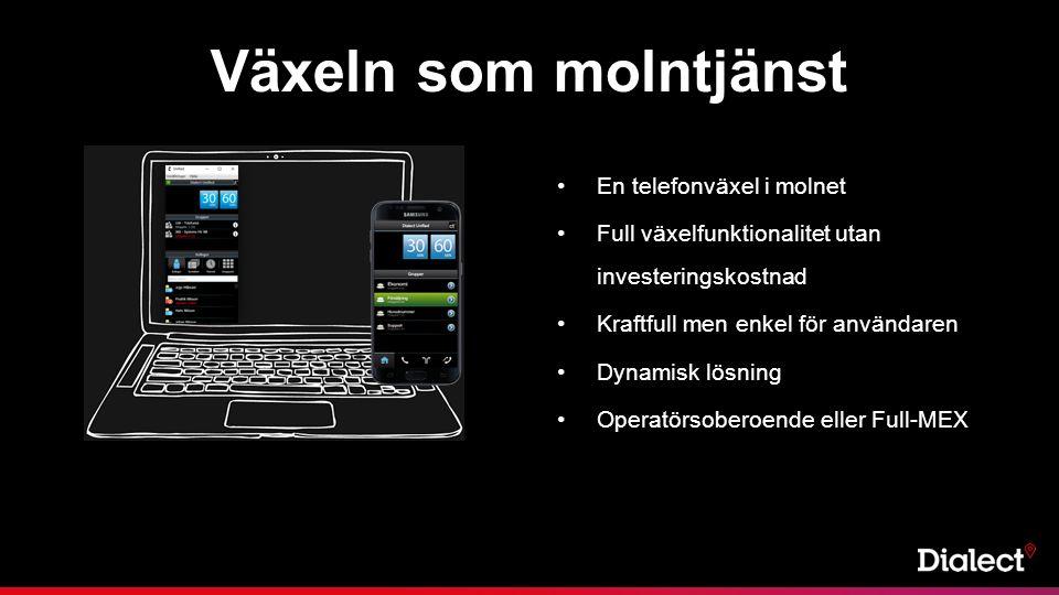 En telefonväxel i molnet Full växelfunktionalitet utan investeringskostnad Kraftfull men enkel för användaren Dynamisk lösning Operatörsoberoende eller Full-MEX Växeln som molntjänst