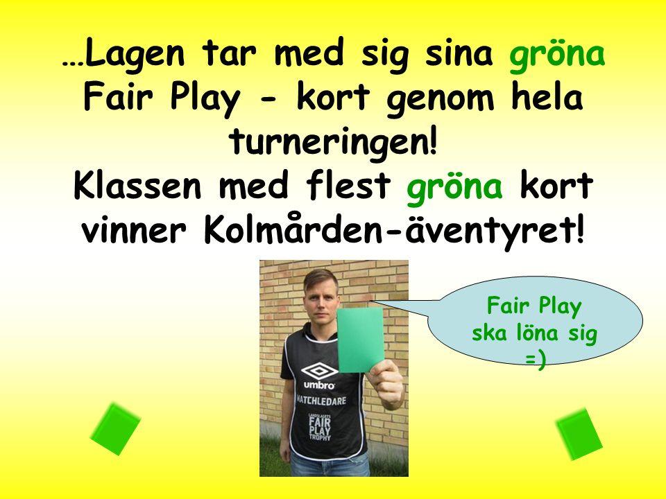 …Lagen tar med sig sina gröna Fair Play - kort genom hela turneringen! Klassen med flest gröna kort vinner Kolmården-äventyret! Fair Play ska löna sig