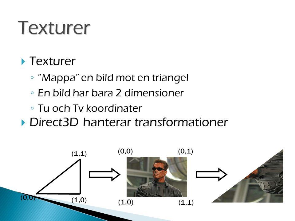 (0,0) (1,1) (1,0) (1,1) (0,1)(0,0)  Texturer ◦ Mappa en bild mot en triangel ◦ En bild har bara 2 dimensioner ◦ Tu och Tv koordinater  Direct3D hanterar transformationer Texturer