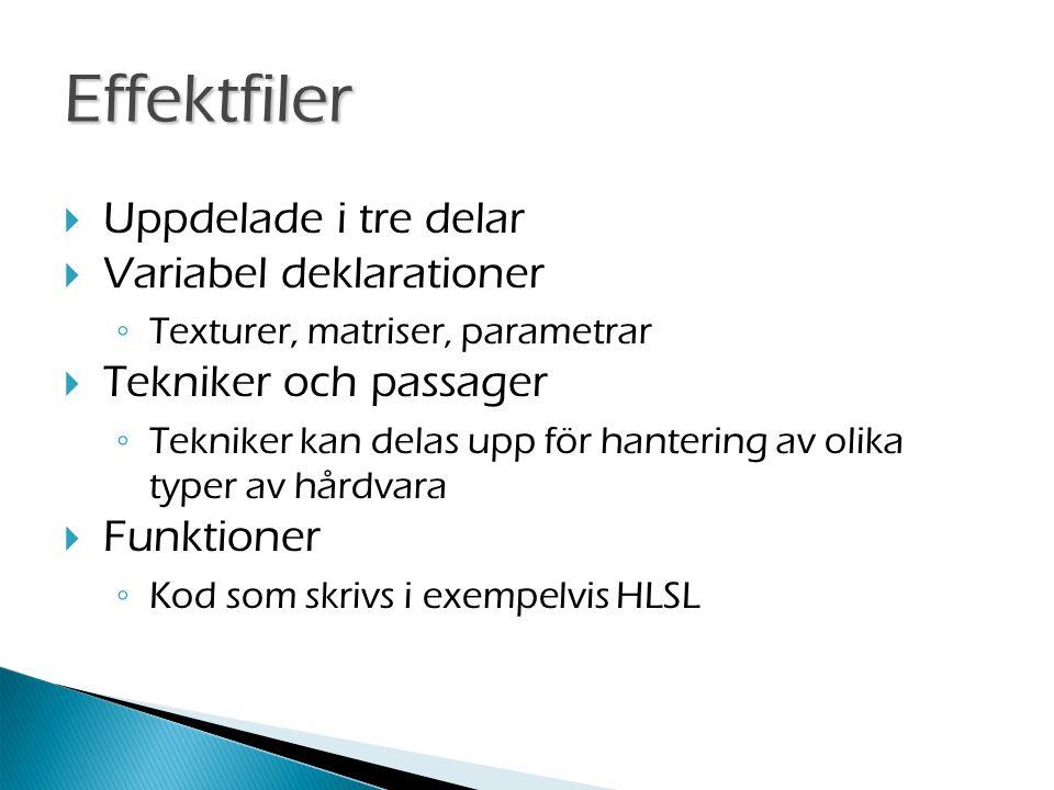 Effektfiler  Uppdelade i tre delar  Variabel deklarationer ◦ Texturer, matriser, parametrar  Tekniker och passager ◦ Tekniker kan delas upp för hantering av olika typer av hårdvara  Funktioner ◦ Kod som skrivs i exempelvis HLSL