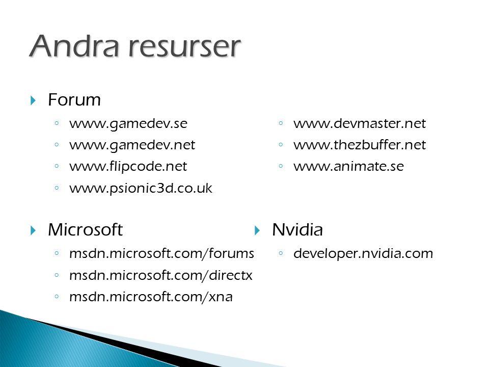 Andra resurser  Forum ◦ www.gamedev.se ◦ www.gamedev.net ◦ www.flipcode.net ◦ www.psionic3d.co.uk  Microsoft ◦ msdn.microsoft.com/forums ◦ msdn.microsoft.com/directx ◦ msdn.microsoft.com/xna ◦ www.devmaster.net ◦ www.thezbuffer.net ◦ www.animate.se  Nvidia ◦ developer.nvidia.com
