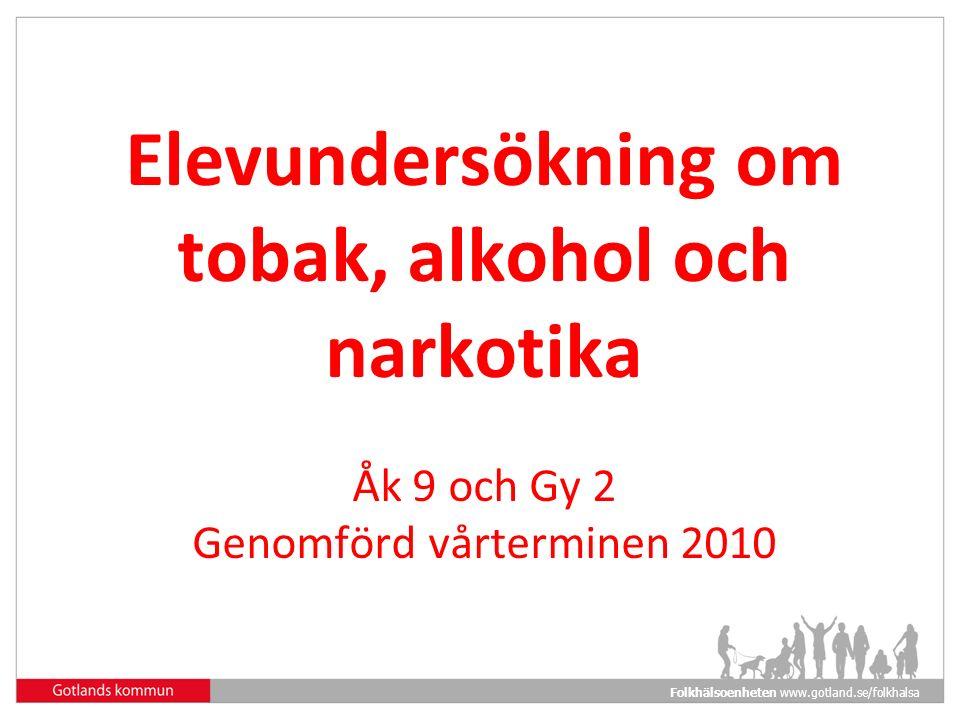 Folkhälsoenheten www.gotland.se/folkhalsa Elevundersökning om tobak, alkohol och narkotika Åk 9 och Gy 2 Genomförd vårterminen 2010