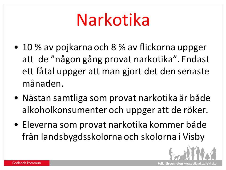 Folkhälsoenheten www.gotland.se/folkhalsa Narkotika 10 % av pojkarna och 8 % av flickorna uppger att de någon gång provat narkotika .