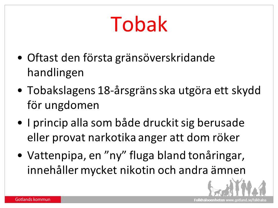 Folkhälsoenheten www.gotland.se/folkhalsa Tobak Oftast den första gränsöverskridande handlingen Tobakslagens 18-årsgräns ska utgöra ett skydd för ungdomen I princip alla som både druckit sig berusade eller provat narkotika anger att dom röker Vattenpipa, en ny fluga bland tonåringar, innehåller mycket nikotin och andra ämnen